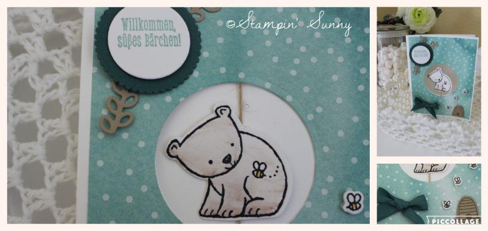 Tierische Glückwünsche von Stampin' Up in einer Babykarte in Meeresgrün.