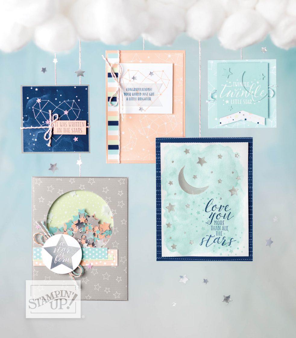 Das Produktpaket Sternstunden ist ein tolles Set für Babykarten und im August 2018 gibt es bei Stampin' Sunny ein tolles Angebot.
