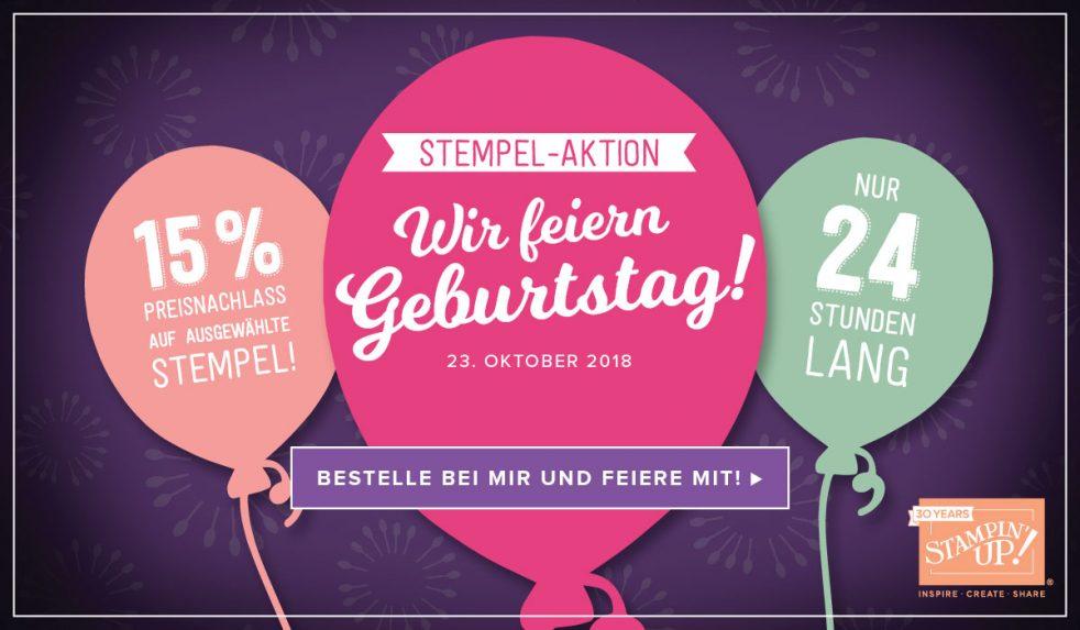 Stampin' Up! feiert 30Jähriges Jubiläum und ihr bekommt die Gewinne: Heute (23. Oktober 2018) von 0:00 bis 23:59 jeweils 15% Preisnachlass auf ausgewählte Stempelsets. Schaut gleich hier.