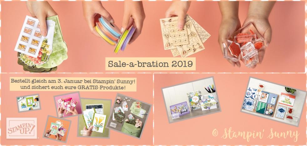 Die Collage für die Sale-a-bration zeigt euch einige verfügbare Produkte von Stampin' up!