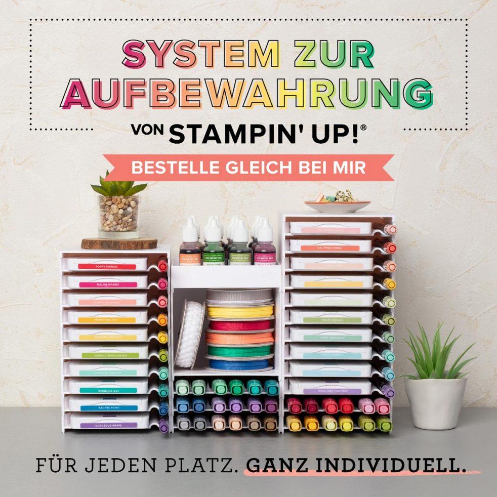 Das System zur Aufbewahrung von Stampin' Up! gibt jedem die MÖglichkeit, seinen Kreativbereich nach den eigenen Wünschen auszustatten.