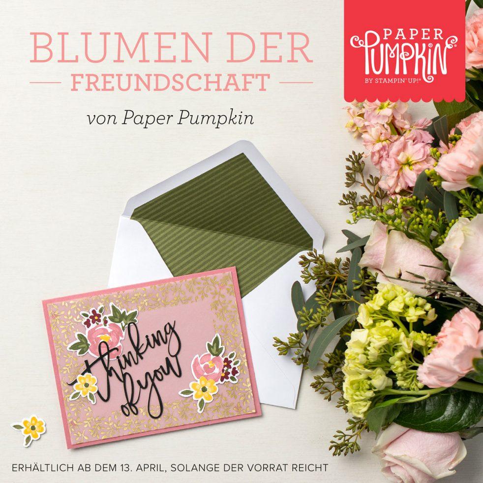 Das Paper Pumpkin Blumen der Freundschaft von Stampin' Up! könnt ihr ab dem 13. April 2021 bei Stampin' Sunny bestellen.